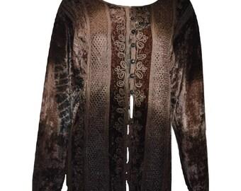 Vintage renaissance inspired tie-dye embroidered velvet button down shirt Brown