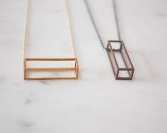 Lenge Pendant // Geometric Jewelry / Minimalist Jewelry / Geometric Pendant / Brass Jewelry / Stainless Steel Jewelry / Simple Necklace