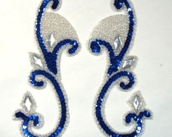 "0034 Blue Sequin Silver Beaded Jeweled Mirror Pair Sequin Beaded Appliques 6""  (0034X-blsl)"