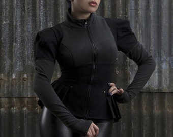GHST RDR edwardian inspired gothic jacket, collaboration between Zoetica Ebb and Plastik Wrap,