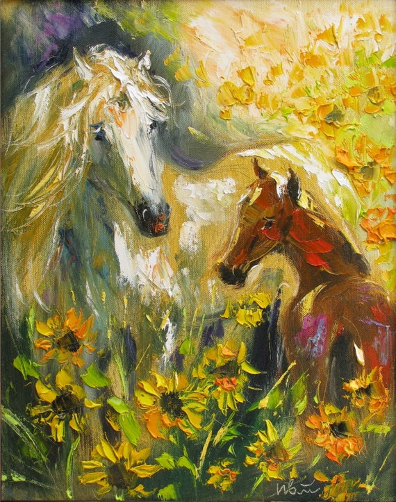 Horse wall art Giclee art print Oil painting print