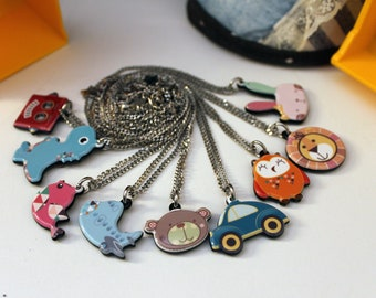 Engraved on back Child ID Necklace/Animal/Robot/Bird/Teddy/Owlet/Lion/Bunny/Child ID/Medical ID/Personalized/Engraved/Necklace
