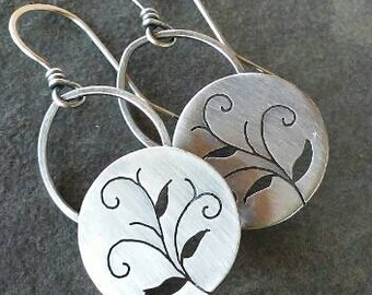 Rustic- Handmade- OOAK-Artisan Earrings- Sterling Silver Earrings- Dangle Earrings.