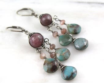 Lepidolite, Peach Moonstone and Chrysocolla Wrapped Chandelier Earrings Oxidized Silver