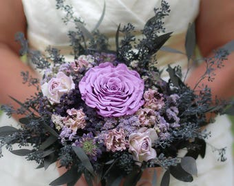 Purple Bouquet | Lavender Dried Flower Wedding Bouquet | The Lillian Marie Bridal Bouquet