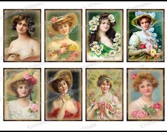 8 Vintage Grunge Victorian Ladies Women ATC ACEO / Digital Collage Sheet Tags Images—Printable Ephemera