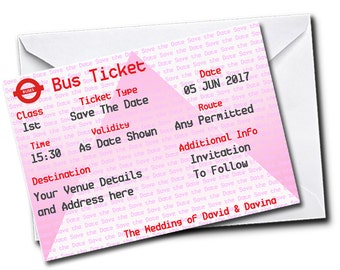Gardia Design Pack of 20 Personalised Bus Ticket Save-The-Date Cards