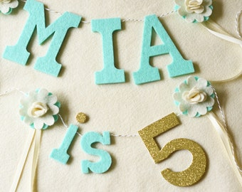 "Flower NAME & is Number Banner SET / "" is # "" / Felt with Glitter number  / Birthday Smash Cake Banner / 2-3"" Letters 4"" Number"