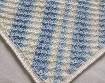 Crochet blue baby blanket, Crochet blankets for sale, baby shower gift, baby boy gift, crochet baby blanket boy