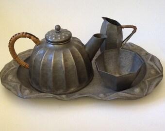 Antique French Art Nouveau Pewter Tea Set by A E Chanal, c. 1915
