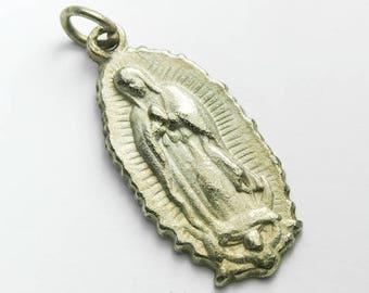 "Unsere Liebe Frau von Guadalupe Medaille, 1 1/4"" Silver Plate Vintage, NOS #CB250"