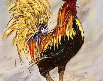 Sunset Rooster - Original Art Print - Farmhouse-Barn-Primitive Art