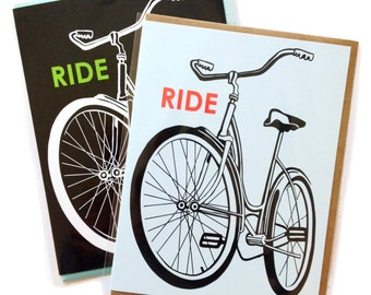 Box of 6 A2 size Bike Greeting Cards, blank inside, rad old school Ride Schwinn Bicylce design, recycled paper, made in Portland Oreogn