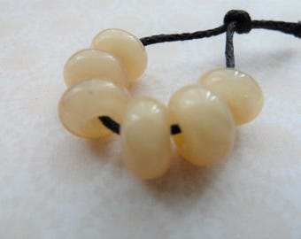 handmade lampwork cream glass spacer beads, uk set