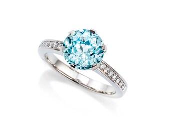 Aquamarine engagement ring, Diamond, platinum, white gold, solitaire, blue engagement, aquamarine, diamond engagement, gold ring, light blue