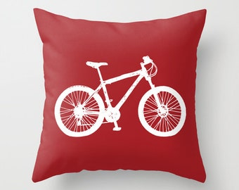 Bike Pillow Cover - Red Bicycle Pillow Cover - Graphic Pillow Cover - Novelty Throw Pillow Cover - Modern Home Decor - includes insert