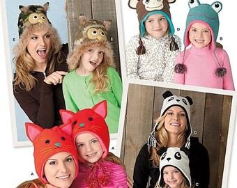 ON SALE Misses and Childs Hats Sewing Pattern Simplicity 1953 UNCUT Owl Hat, Cat Hat, Panda Hat, Monkey Hat, Frog Hat