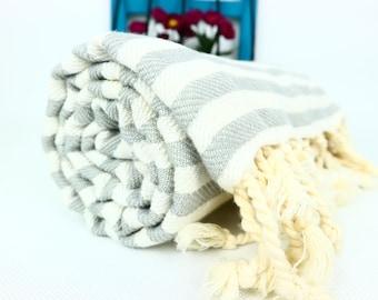 Light Gray Striped Turkish Towel,Light Gray Cotton Towel,Light Gray Towel,Light Gray Striped Peshtemal,Gray Stireped Beach Towel,