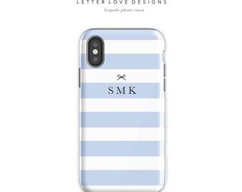 Personalized Stripe iPhone 7 Case iPhone 7 plus case iPhone 6s case iPhone X Case Samsung s8 Case Samsung Galaxy Custom Phone Case Blue
