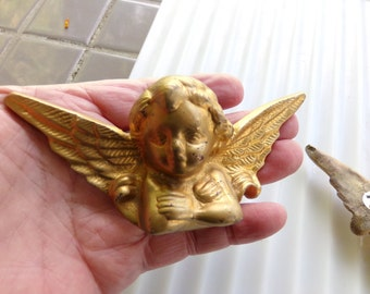 Vintage Brass Cherubs, set of brass cherubs, Cherub wall décor