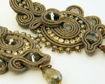Long Soutache Earrings, Soutache Earrings, Fashion  Earrings, Chandelier Earrings, Earrings Handmade, Crystals Stud Earrings, Gift For Her