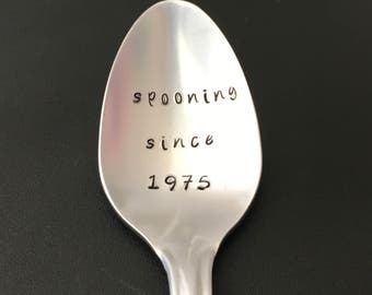Spooning since  / Hand Stamped Spoon / Personalized Spoon/Message of Choice