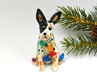 Australian Cattle Dog PORCELAIN Christmas Ornament Figurine Clay OOAK