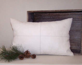 Off-White Micro-Suede Lumbar Pillow Cover with Topstitching 13x20