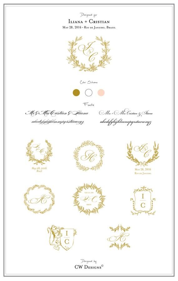 Custom Crest Monogram Wedding logo Wedding Monogram Wedding