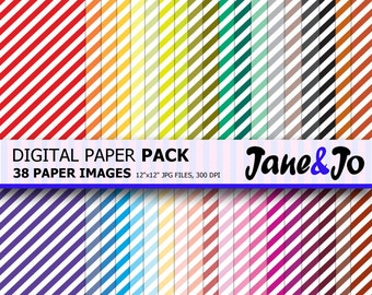 50%OFF SALE Diagonal Stripes Pattern Digital Paper,Diagonal Stripes Digital Paper Pack,Scrapbook paper,Rainbow Background,Instant Download