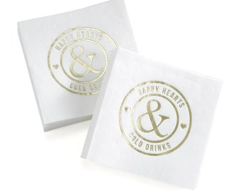 White Cocktail Napkins Gold Foil For Wedding Receptions, Anniversary Parties Or Other Happy Occasions, 50 Napkins Per Set