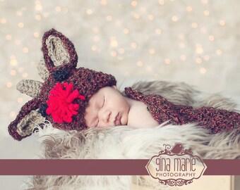 Reindeer Cuddle Critter Cape Set Newborn Photography Prop