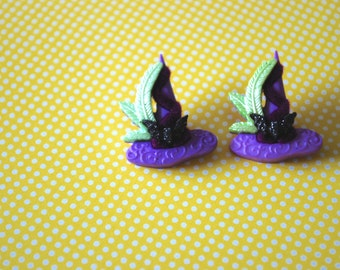 Witch Hat Earrings -- Witch Earrings, Purple Witch Hat Studs, Halloween Jewelry