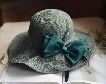 Folding dome summer sun hat han version weaving straw hat hat female 100 hat fisherman hat day line.