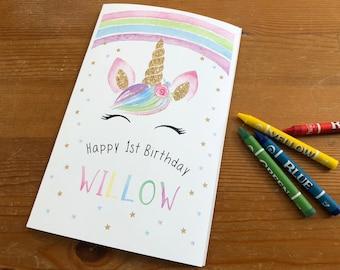Unicorn favors / unicorn party / coloring book / baby shower coloring book / unicorn invitation / rainbow / magical birthday