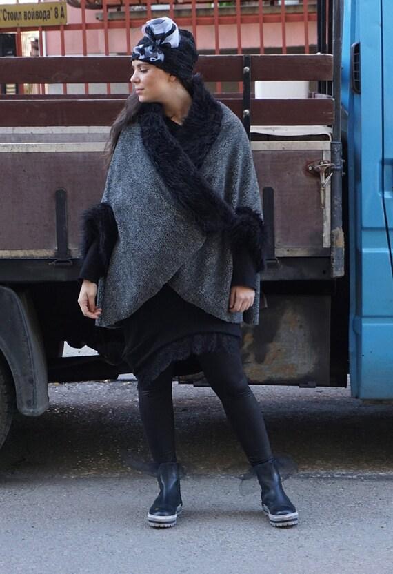 Warm Wool Eco Fur Leather Poncho / Gatsby Winter Vest Coat / Oversized Loose Poncho