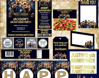Night at the Museum MOVIE Package, PRINTABLE, Includes Invite, Banner, Food Tent, Thank You, Cupcake Toppers, Bottle Wrappers, Favor Tag,