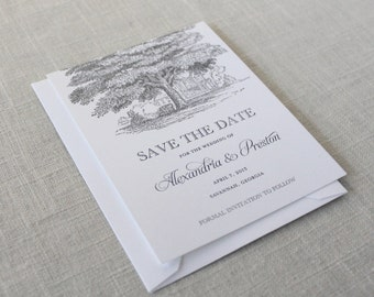 Printed Oak Tree Save the Dates, Oak Save the Dates, Tree Save the Dates, Southern Wedding, Outdoor Wedding, Historic Home