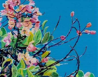 Rainbow Showers Original Reverse Acrylic Painting Kauai Hawaii Hawaiian flower Cassia javanica Hawaii Interior Design Rainbow Shower Tree
