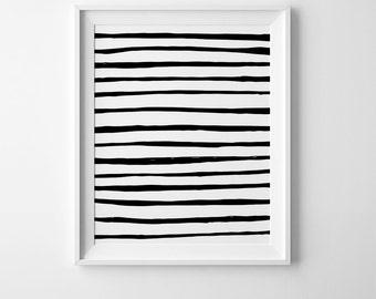 Nursery print, abstract wall art, digital print, modern digital art, Scandinavian print black and white abstract print black stripes print