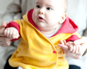 Handmade Jacket for Baby and Toddlers made of fleece. Warm and cozy coat with jersey. Sizes NB -> 4T - GIRA - Alua Liulé