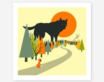 RED RIDING HOOD (Giclée Fine Art Print/Photo Print/Poster Print) Surreal Pop Art