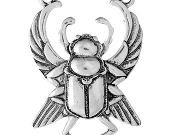 1pc Antique Silver Scarab Beetle Pendant - 52x38mm - Egyptian, Jewelry Finding, Jewelry Making Supplies, Necklace, Ships from the USA - N31