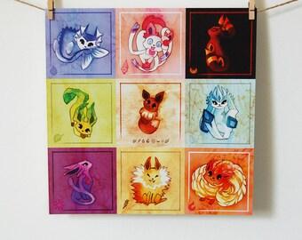 Pokemon Eeveelution Checkers 11x11 Poster Print, Eevee, Flareon, Jolteon, Vaporeon, Umbreon, Espeon, Leafeon, Glaceon, Sylveon