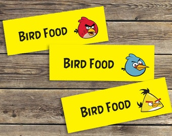 Angry Birds Bird Food Party Favor Treat Bag Topper Printable / Downloadable Birthday party PDF