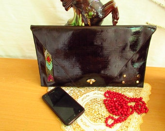 brown leather clutch, leather Envelop clutch, Evening leather clutch, large Envelop clutch, leather Evening bag, Envelop bag