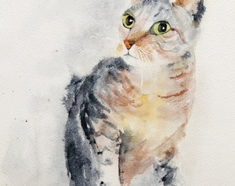 Cat watercolor - Tabby watercolor Original painting, Original Watercolour, Watercolor, cat watercolour