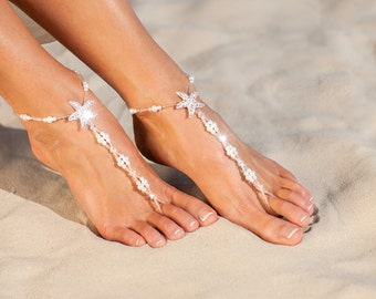 The Maldives Beach wedding barefoot sandals Bridal foot jewelry Starfish barefoot sandals Bridal shoes White Footless sandals Gift for her
