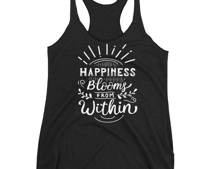 Happiness Motivation Racerback Tank Top | Gift for Mom | Motivational, Motivational Shirt | Gym Tank Top | Motivational Tanks, Motivation