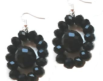Black nested Beaded Earrings, Black Statement Earrings